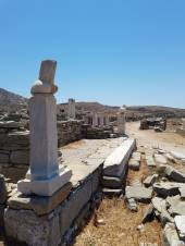 A phallus statue in Delos - symbol of protection and fertilty